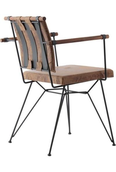 Yakos Mobilya Metal Ahşap Sandalye Kahve