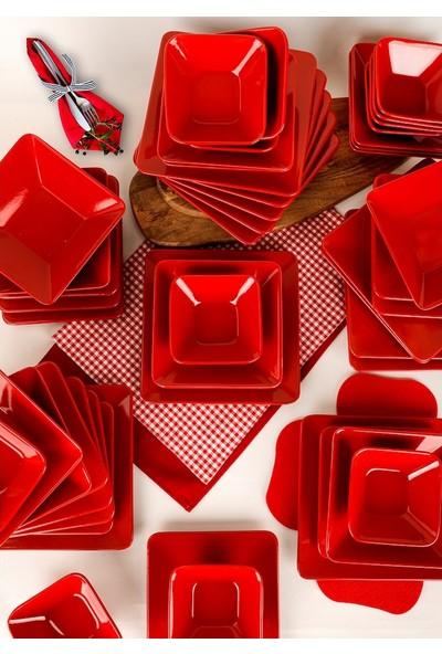Keramika Siera Kırmızı Kare Yemek Takımı 24 Parça 6 Kişilik