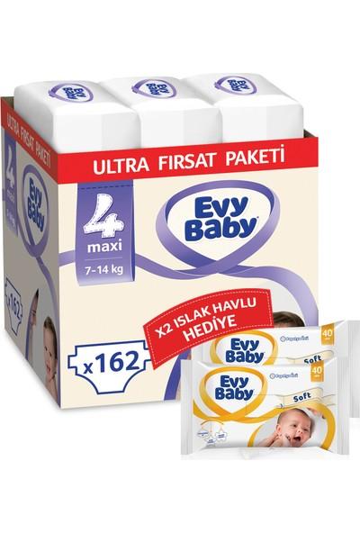 Evy Baby Bebek Bezi 4 Numara Maxi 162' li + Islak Havlu