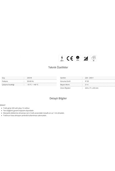 Cata CT-2577 21 Amper Şerit LED Trafosu 250W Slim Model 3 Çip