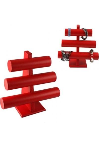 Aydın Dekor Deri Üçlü Kırmızı Bileklik-Saat Dekor Standı (Aydindecor)