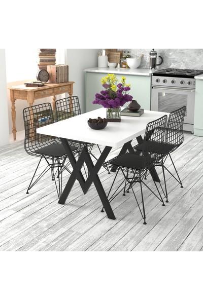 Hometia Endam 4 Sandalyeli Mutfak Masası Beyaz