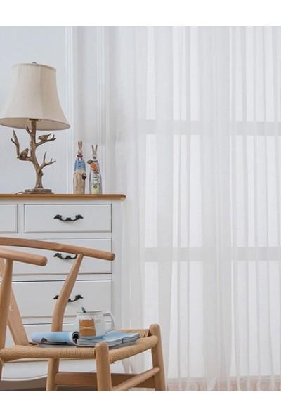 Belle Cose Kullanıma Hazır Pileli Kırık Beyaz Düz Tül Perde 100 x 250 cm