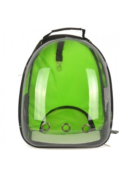Dougesi Şeffaf Kedi Köpek Sırt Çantası Yeşil