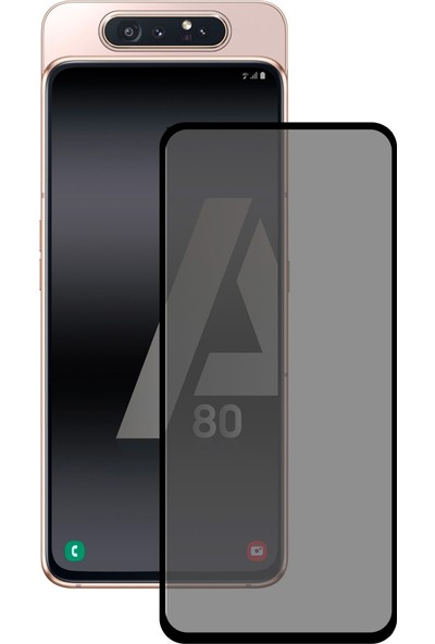 Dafoni Samsung Galaxy A80 Curve Privacy Tempered Glass Premium Cam Ekran Koruyucu