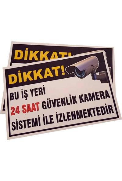 Umut Reklam Bu Iş Yeri 24 Saat Kamera İle İzlenmektedir Uyarı Levhası 30X20 Beyaz (Stcker)