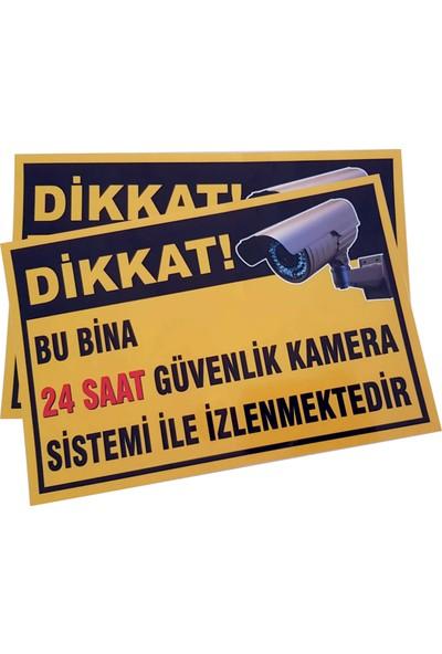 Umut Reklam Bu Bina 24 Saat Kamera İle İzlenmektedir Uyarı Levhası 30X20 Sarı Zemin (Sticker)