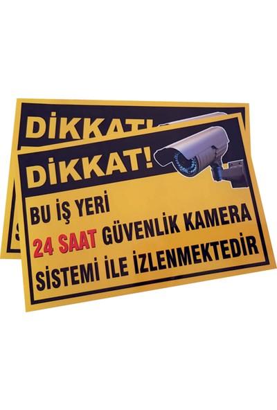Umut Reklam Bu Iş Yeri 24 Saat Kamera İle İzlenmektedir Uyarı Levhası 30X20 Sarı Zemin (Sticker)