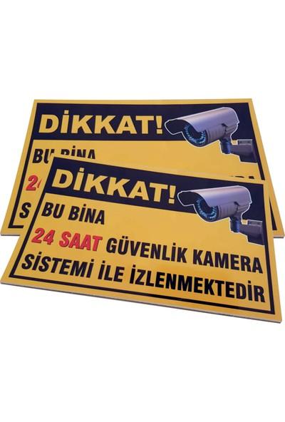 Umut Reklam Bu Bina 24 Saat Kamera İle İzlenmektedir Uyarı Levhası 50X30 Sarı Zemin (3mm Dekote)