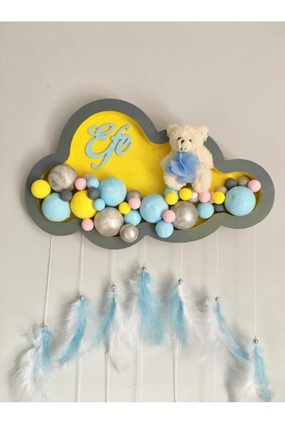 Buki'nin Atölyesi Bulut Ahşap Pano Bebek Kapı Süsü Gri-Sarı