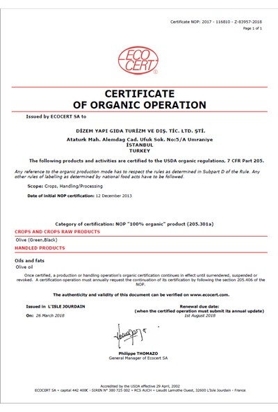 Dizem Organik Sızma Zeytinyağı 5lt 4'lü Paket