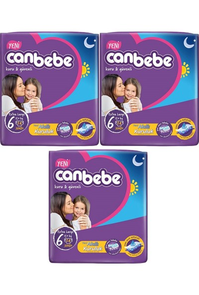 Canbebe Bebek Bezi 6 Beden Extra Large 24'lü x 3 Paket 72 Adet