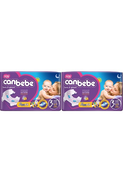 Canbebe Bebek Bezi 3 Beden Midi 48'li x 2 Paket 96 Adet