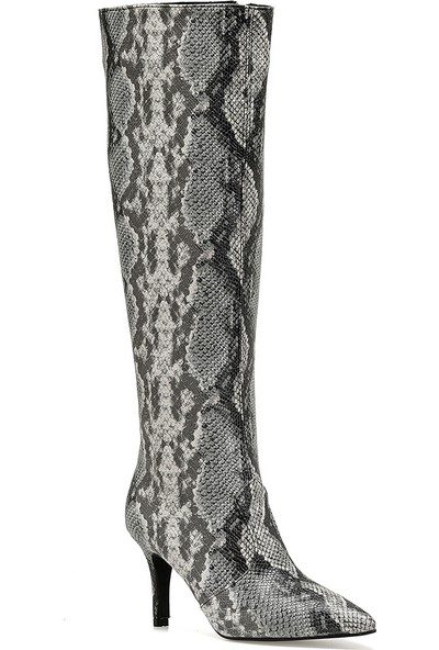 Nine West Terra Gri Kadın Ökçeli Çizme
