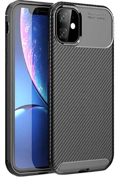 Case 4U Apple iPhone 11 Kılıf Karbon Desenli Sert Silikon Arka Kapak Negro Siyah