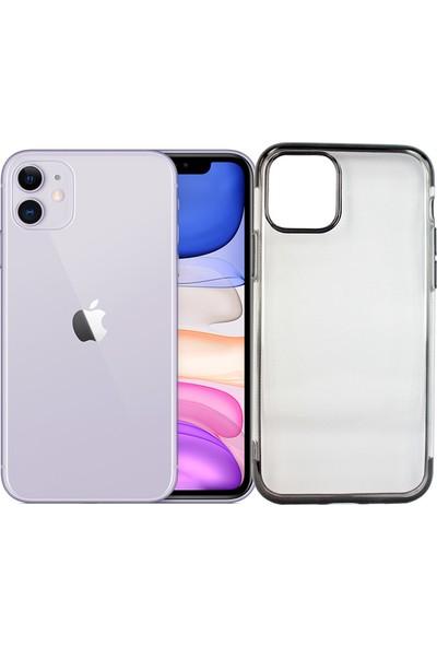 Case 4U Apple iPhone 11 Kılıf 4 Köşeli Renkli Lazer Silikon Arka Kapak - Glitter Siyah