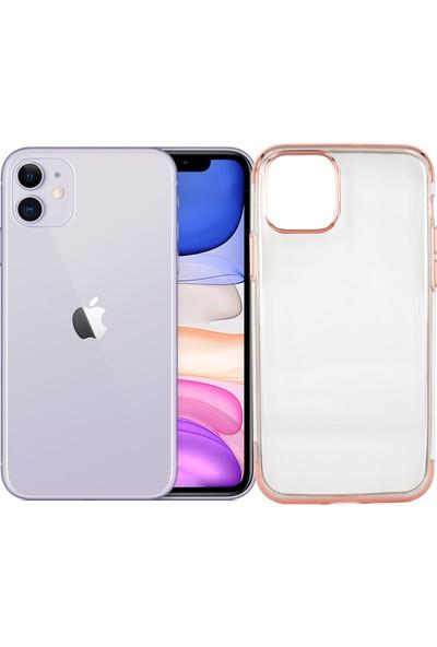 Case 4U Apple iPhone 11 Kılıf 4 Köşeli Renkli Lazer Silikon Arka Kapak - Glitter Rose Gold