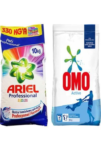Ariel Parlak Renkler Professional 10kg + Omo Active Toz Deterjan 10kg