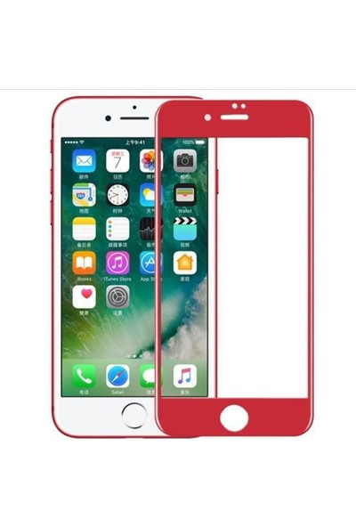 Kılıfist Apple iPhone 7/8 3D Glass Ekran Koruyucu Komple 9H Temperli Cam Kırmızı