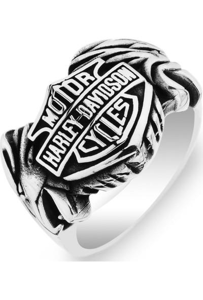 Gümüşçü Gümüş Harley Davidson Cycles Logolu Erkek Yüzük