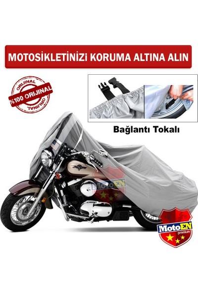 Motoen Aprilia Scarabeo 200 Arka Çanta Uyumlu Motosiklet Brandası (Bağlantı Tokalı) - Gri