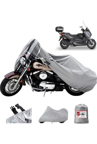 Motoen Mondial 125 Znu Arka Çanta Uyumlu Motosiklet Brandası (Bağlantı Tokalı) - Gri