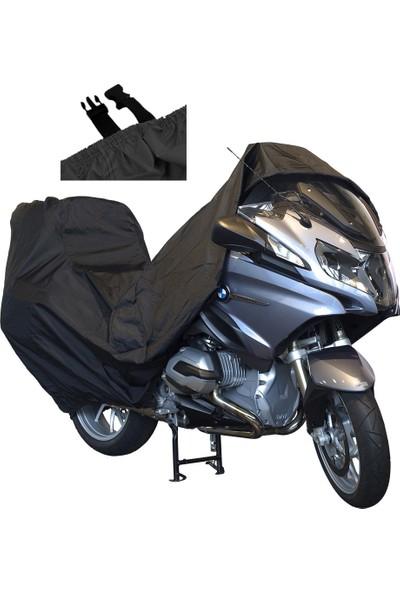 Motoen Kral KR-100-2A Arka Çanta Uyumlu Motosiklet Brandası (Bağlantı Tokalı)- Siyah