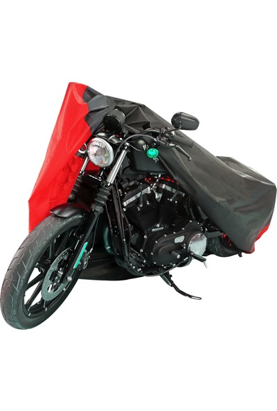 Motoen Kymco Venox 250 Branda Motosiklet Brandası (Bağlantı Tokalı) Siyah-Kırmızı