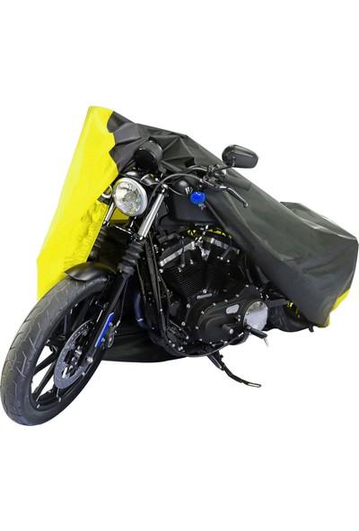Motoen Kymco Venox 250 Branda Motosiklet Brandası (Bağlantı Tokalı) Siyah-Sarı