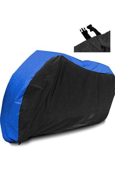 Motoen Kymco Venox 250 Branda Arka Çanta Uyumlu Motosiklet Brandası (Bağlantı Tokalı) Siyah-Mavi