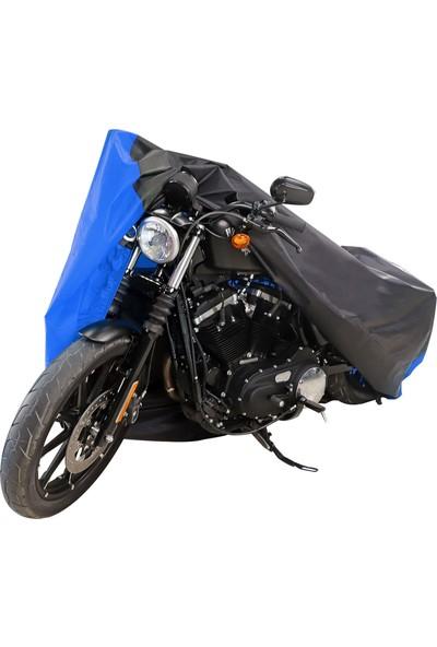 Motoen Yamaha Tracer 700 Branda Arka Çanta Uyumlu Motosiklet Brandası (Bağlantı Tokalı) Siyah-Mavi