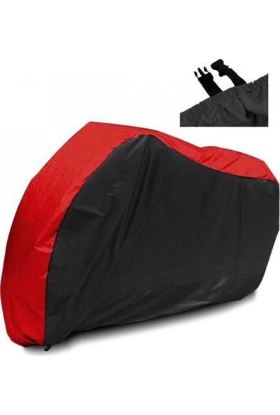 Motoen Kymco Venox 250 Branda Arka Çanta Uyumlu Motosiklet Brandası (Bağlantı Tokalı) Siyah-Kırmızı