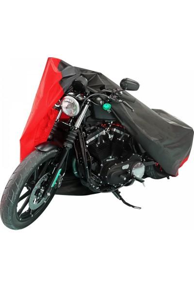 Motoen Yamaha Yzf R6 Branda Arka Çanta Uyumlu Motosiklet Brandası (Bağlantı Tokalı) Siyah-Kırmızı