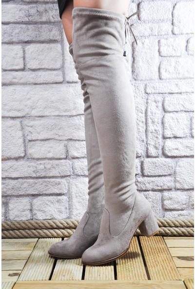 Noa Shoes Kadın Bej Streç Çizme Süet Diz Üstü Topuklu