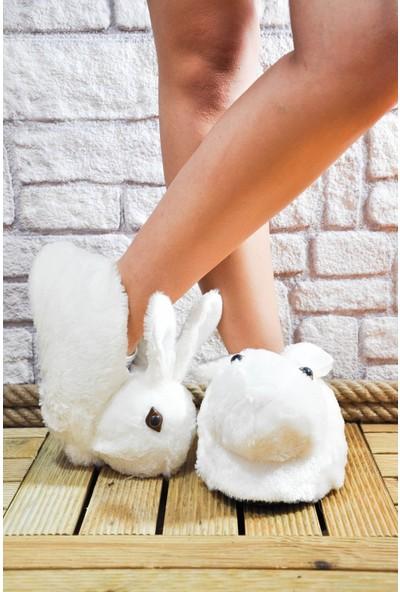 Noa Shoes Kadın Panduf Beyaz Tavşan Ev Terliği Peluş Tüylü
