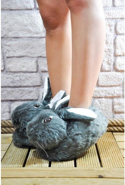 Noa Shoes Kadın Panduf Ev Terliği Koyu Gri Tavşan Tüylü Peluş