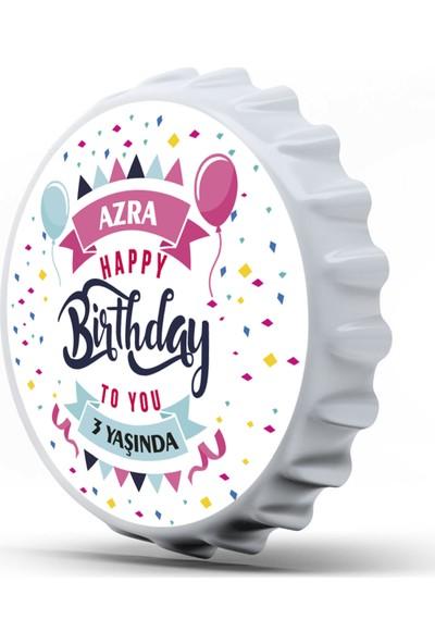 4 Renk 50 Adet Kişiye Özel Kapak Şeklinde 77 mm Çapında Magnetli Açacak ''happy Birthday'' Hediyeliği