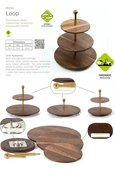 Woodenplus Marka, Loop Serisi, Döner Mekanizmalı, Pasta Sunumu