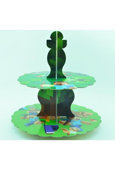 Epapack Minyonlar-Minecraft Çift Taraflı Muffin Cupcake Standı
