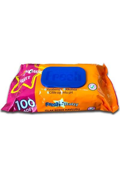Fresh Baby - Eco Islak Havlu Kapaklı 100'LÜ x 30 Paket - 3000 Adet