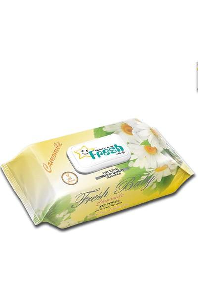 Fresh Baby - Papatya Islak Havlu Kapaklı 100'LÜ x 24 Paket - 2400 Adet