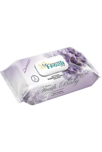 Fresh Baby - Lavanta Islak Havlu Kapaklı 100'LÜ x 24 Paket - 2400 Adet