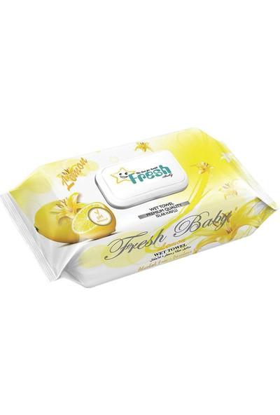 Fresh Baby - Limon Islak Havlu Kapaklı 100'LÜ x 24 Paket - 2400 Adet