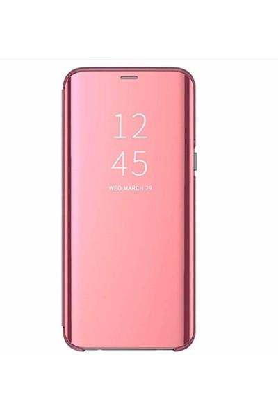 Prolysus Samsung Galaxy S10e Kapaklı Kılıf Clear View Aynalı Flip Cover Wallet Kılıf Rose Gold