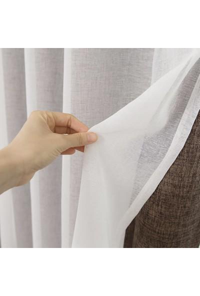 Belle Cose Beyaz Keten Kullanıma Hazır Düz Tül Perde 350 x 260 cm
