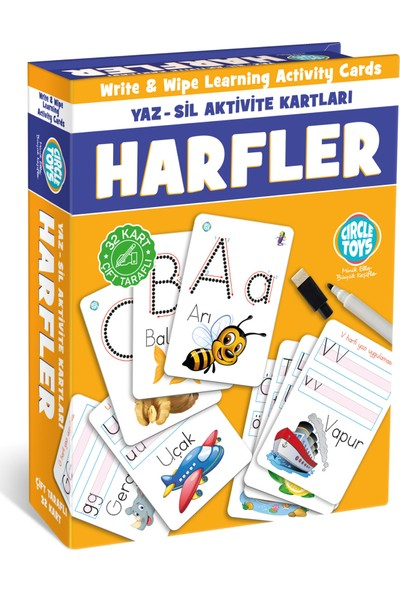 Piramigo Yaz - Sil Aktivite Kartları Harfler - Write Wipe Learning Activity Cards