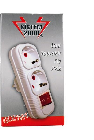 Sistem 2000 2'li Golyat Anahtarlı Priz Çoğaltıcı