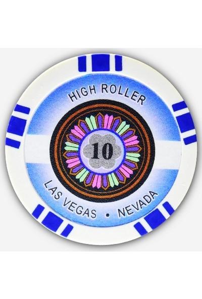 Gabriels Game High Roller 10'luk 25 Adet Oyun Çipi (Las Vegas Nevada 11,5 gr Clay Oyun Fişi, Oyun Chipi)