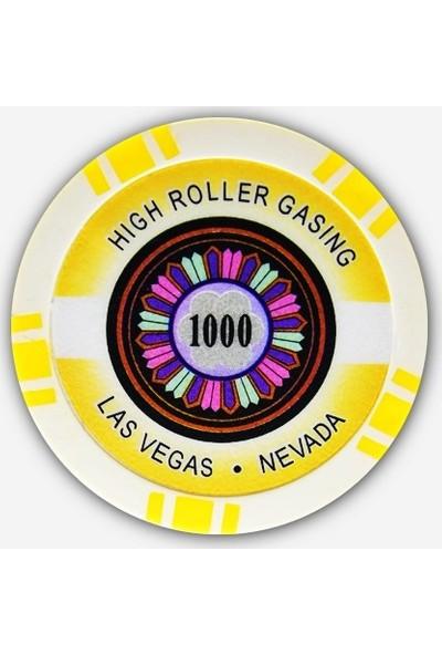 Gabriels Game High Roller 1000'lik 25 Adet Oyun Çipi (Las Vegas Nevada 11,5 gr Clay Oyun Fişi, Oyun Chipi)