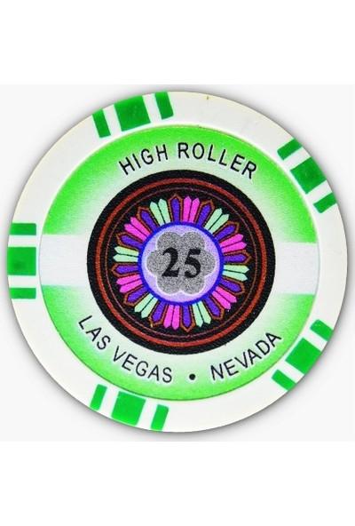 Gabriels Game High Roller 25 Adet Oyun Çipi (Las Vegas Nevada 11,5 gr Clay Oyun Fişi, 25'lik Chip)